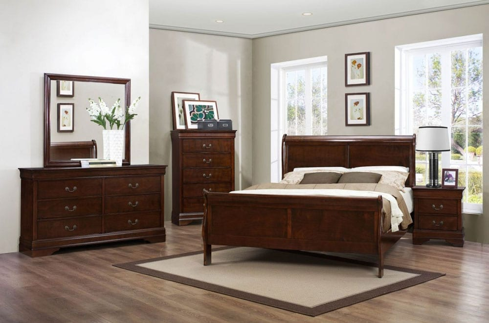 main catalog bedroom louis phillipe bedroom set dark cherry